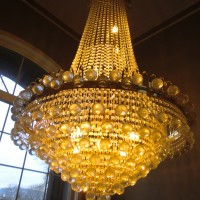 a very dusty crystal chandelier
