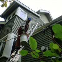 We use ladder stand-offs when cleaning your roof gutters to prevent any damage to the evestrough aluminum