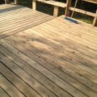 wood deck sanded and ready for staining