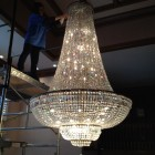 Crystal chandelier cleaing in progress - this one is huge!