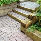 Paving stone stairs and railway ties after power washing