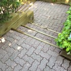 Paving stone stairs after power washing