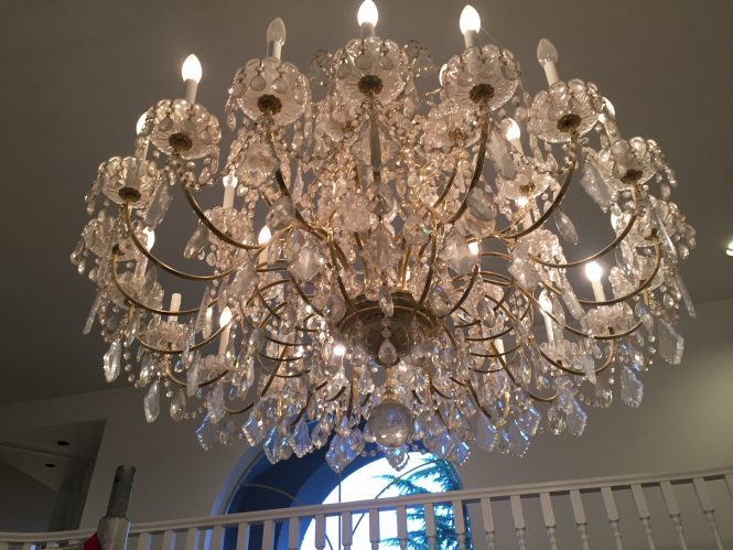 crystal chandelier before cleaning by A Glass Act