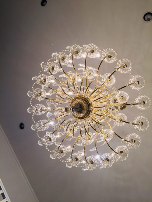 crystal chandelier sparkles like new after cleaned