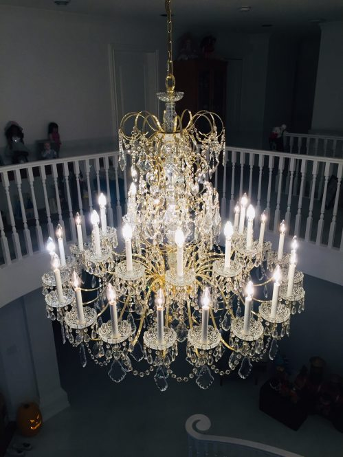crystal chandelier after cleaning by A Glass Act